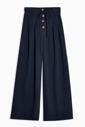 Topshop Womens Navy Tie Waist Button Up Wide Leg Trousers - Navy Blue