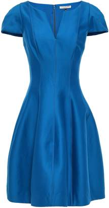 Halston Flared Cotton And Silk-blend Dress