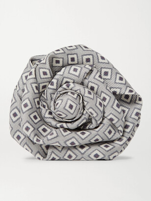 Charvet Printed Silk-Faille Flower Lapel Pin