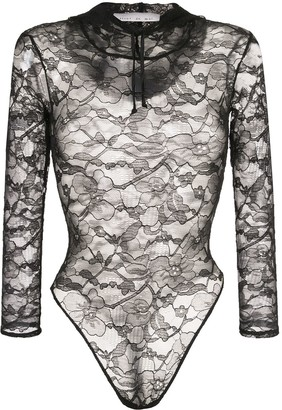 Fleur Du Mal Chat lace hooded bodysuit