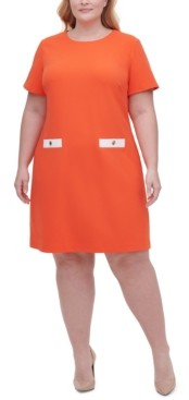 Tommy Hilfiger Plus Scuba Crepe Two Pocket A-line Dress