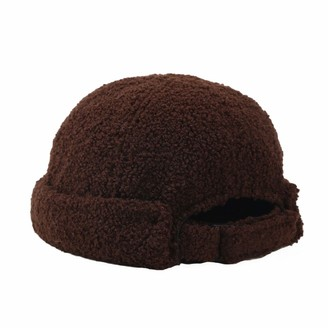 papasgix Beanie Hat for Women Lamb Wool Ski Roll up Edge Skullcap with Adjustable Buckle Fur Bobble Pom Pom Hats Unisex(Dark Brown)