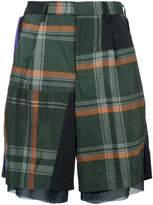 Kolor mesh tartan shorts
