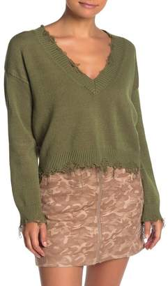Wild Honey Distressed V-Neck Sweater