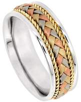 American Set Co. Men's Tri-Color Platinum & 18k White Yellow Rose Gold Braided 7.5mm Comfort Fit Wedding Band Ring size 4.5