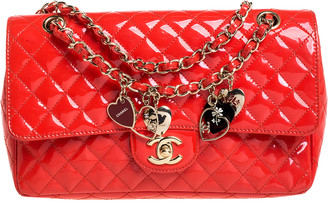 Chanel Coral Orange Quilted Patent Leather Valentine Charm Single Flap Bag