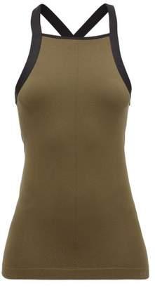 Falke Cross-back Ribbed-jersey Tank Top - Womens - Dark Green
