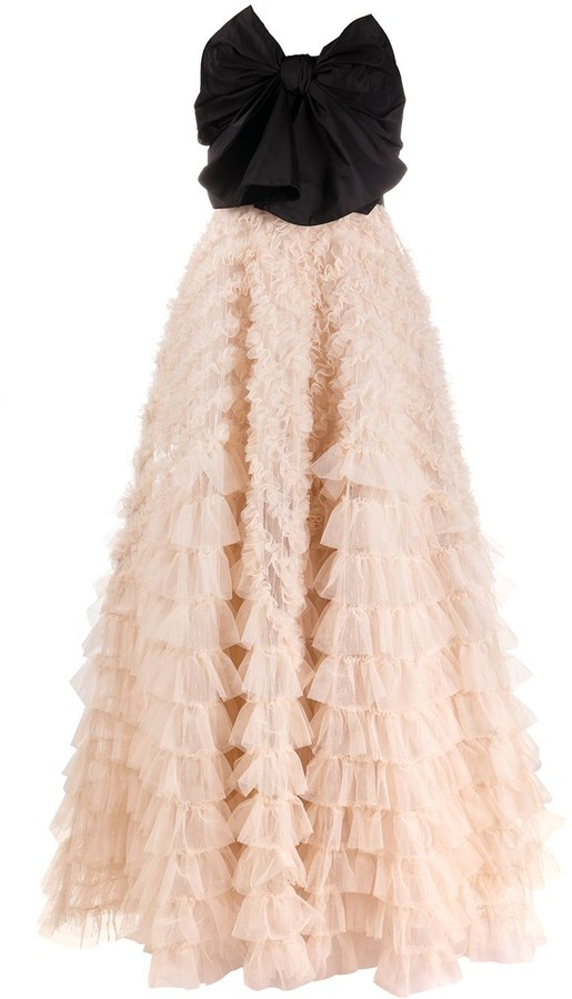 RED Valentino Bow-Detail Tiered Tulle Gown