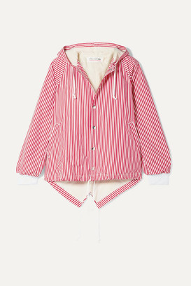 Comme des Garcons Oversized Hooded Striped Cotton-poplin Jacket - Red