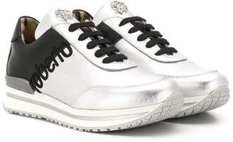 Roberto Cavalli Junior two tone lace-up sneakers