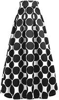 NINEWE Women's Midi Skirt A-Line Pleated High Waist Polka Dot OL Skirts Blackpot US
