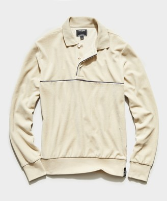 Todd Snyder Velour Piped Polo in Sand