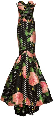 Richard Quinn Floral Polka-Dot Print Mermaid-Fit Gown