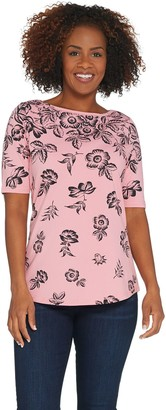 Denim & Co. Perfect Jersey Floral Cascade Boatneck Elbow- Sleeve Top