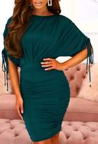 Pink Boutique Charming Darling Teal Slinky Batwing Ruched Stretchy Midi Dress