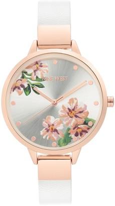 Nine West Women's Rosetone Dial Floral Watch