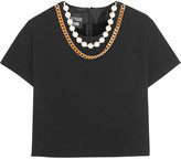 Moschino Cropped embellished crepe top