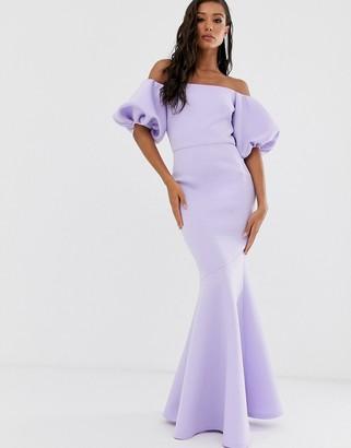 True Violet Black Label puff sleeve peplum maxi dress in lilac-Blue