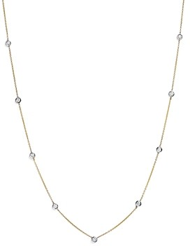 Bloomingdale's Diamond Station Necklace in 14K Yellow and White Gold, 0.60 ct. t.w. - 100% Exclusive
