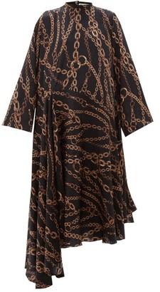Balenciaga Chain Print Logo Silk-jacquard Dress - Womens - Black Multi