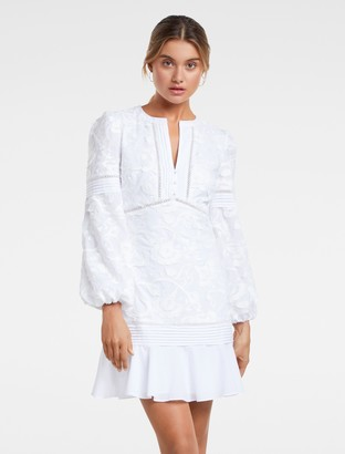Forever New Bonnie Balloon-Sleeve Dress - White - 4