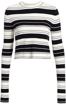 Proenza Schouler White Label Pinstripe Cropped Sweater