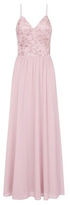 Dorothy Perkins Womens Chi Chi London Pink Floral Embroidered Maxi Dress, Pink