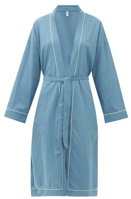 Domi - Piped Organic-cotton Robe - Womens - Denim