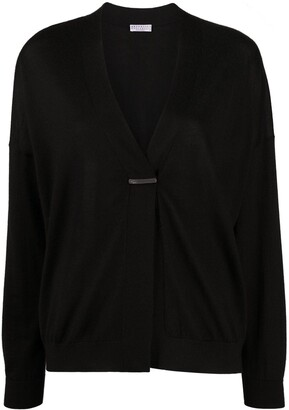 Brunello Cucinelli brooch-detail V-neck cardigan