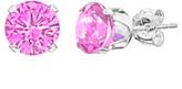 Sevil 925 Women's Earrings - Pink Sapphire & Sterling Silver Round-Cut Stud Earrings