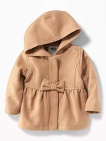Old Navy Brushed Velour Bow-Front Coat for Baby