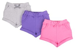 Little Star Organic Baby and Toddler Girl Pure Organic True Brights Shorts, 3 pack