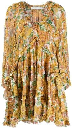 Zimmermann Floral-Print Pleated Silk Dress