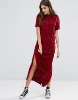 Daisy Street Tie Waist Jersey Midi Shirt Dress
