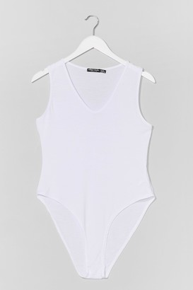 Nasty Gal Womens Plus Size Jersey V Neck Bodysuit - White - 24