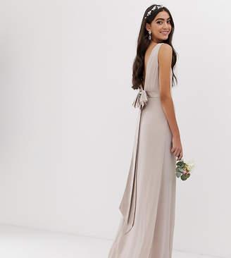 MinkPink Tfnc Tall TFNC Tall bridesmaid exclusive sateen bow back maxi in mink-Pink