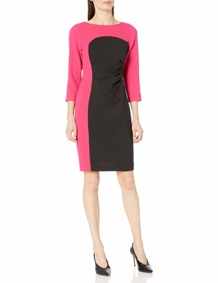 Nine West Women's 3/4 Sleeve Colorblock Dress