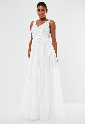 Missguided Hand Beaded Plunge Wedding Dress