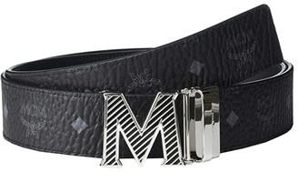 MCM Epoxy Oblique Shiny Cobalt M Buckle Belt (Black) Men's Belts