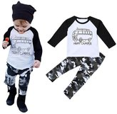 Leegor Infant Toddler Baby Boy Long Sleeve Print T-shirt Tops+Pants Outfit