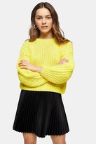 Topshop Womens Petite Yellow Cropped Jumper With Wool - Yellow
