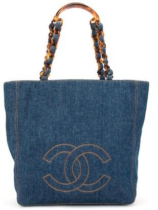 Chanel Pre-Owned 1998 CC stitch denim tote