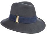 Eugenia Kim Bianca Graphite Wool-Felt Wide-Brimmed Fedora Hat with Navy Suede Trim