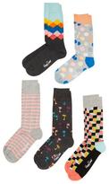 Happy Socks Palm Trees & Geometric Print Socks (5 PK)