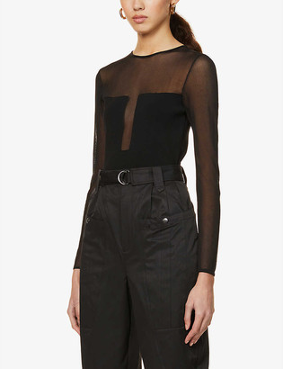 Reiss Lily sheer stretch-knit jumper