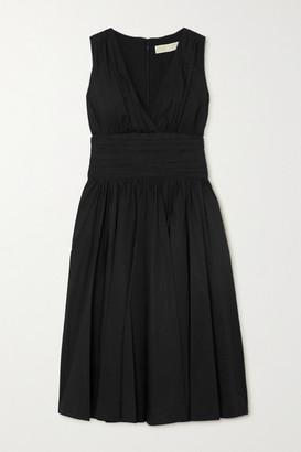 MICHAEL Michael Kors Gathered Cotton-blend Poplin Midi Dress - Black