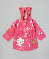 Kidorable Pink Lucky Cat Raincoat - Infant Toddler & Girls