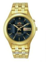 Orient #BEM5V001D Men's Facet Glass Gold Tone Stainless Steel Automatic Watch