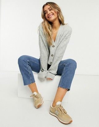 Stradivarius ribbed crop cardigan in grey