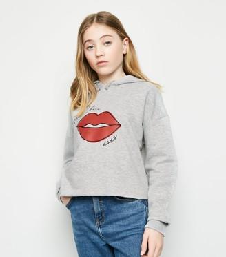 New Look Girls Mon Cheri Lips Print Hoodie